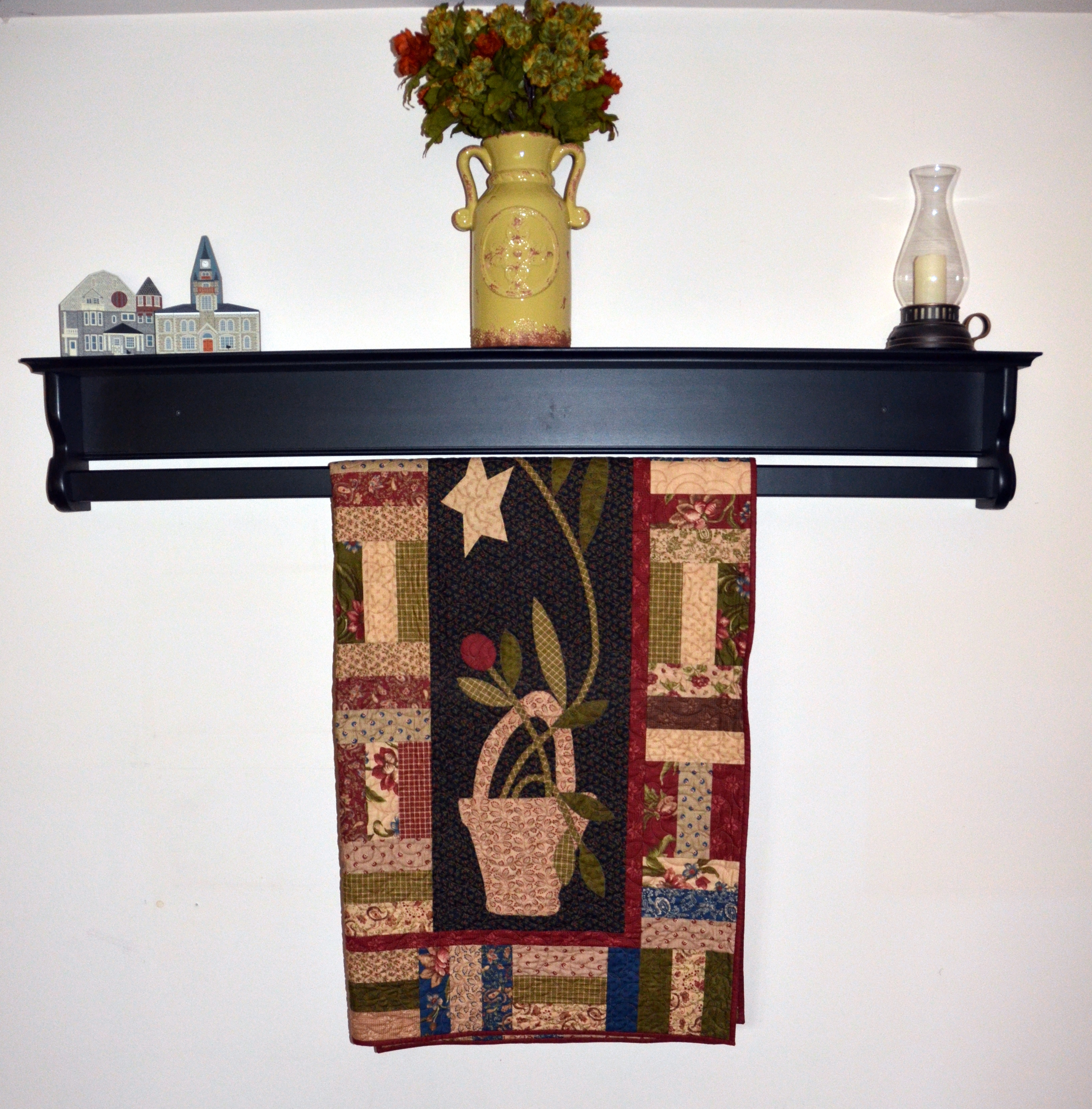 Custom Wooden Hanging Quilt Shelf