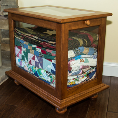 Quilt Display Cabinet crafted by DWR Custom Woodworking