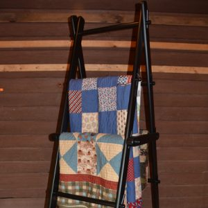 Wood quilt step ladder crafted by DWR Custom Woodworking